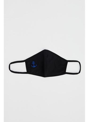 DeFacto Çapa Baskılı Yıkanabilir Maske Siyah